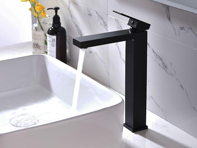 Torneira Misturador Monocomando Preto Quadrado Alto Para Banheiro M0102P