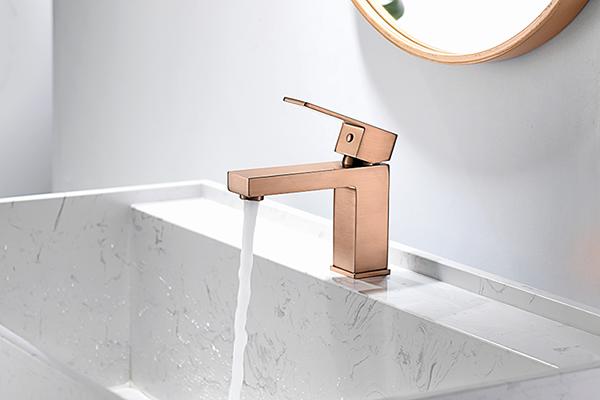 Torneira Misturador Monocomando Rose Gold Fosco Quadrado Para Banheiro M0101RF