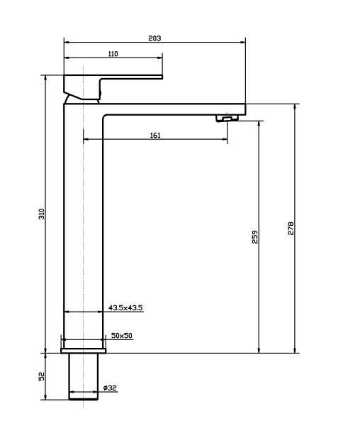 Torneira Misturador Monocomando Rose Gold Quadrado Alto Para Banheiro M0102M