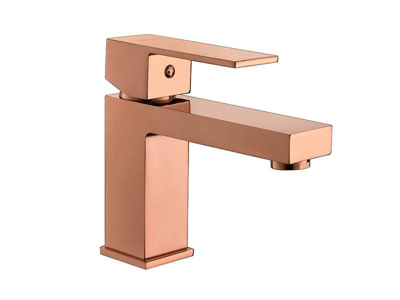 Torneira Misturador Monocomando Rose Gold Quadrado Para Banheiro M0101M
