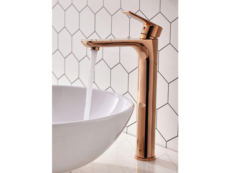 Torneira Misturador Monocomando Rose Gold Redondo Alto Para Banheiro M0106M