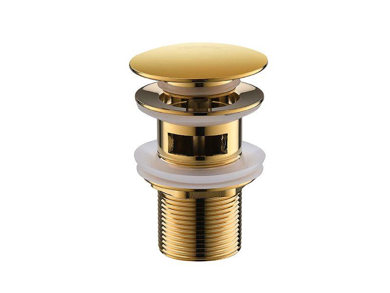 Válvula Click Up De Latão Dourada Com Ladrão Para Cuba HB-LC107D