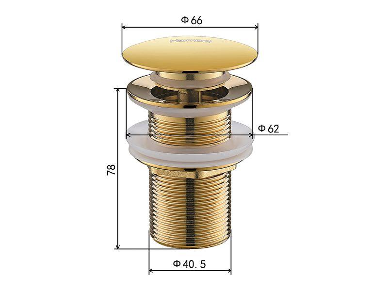 Válvula Click Up De Latão Dourada Sem Ladrão P/cuba HB-LS106D