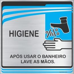 Placa Após Usar o Banheiro Lave as Mãos (15x15cm)