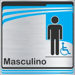 Identificação Banheiro Masculino inclusivo (20x20cm)