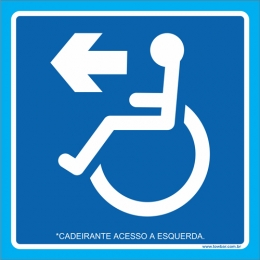 Placa cadeirante acesso à esquerda