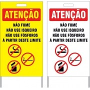 Cavalete - não fume, não use isqueiros, não use fósforos