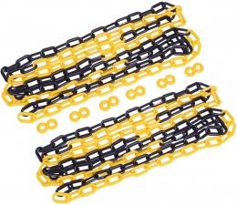 Corrente plástica amarela e preta