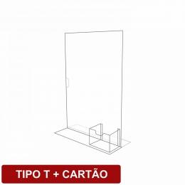 Display de mesa tipo T + cartão em acrílico