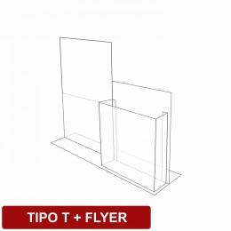 Display de mesa tipo T + flyer em acrílico