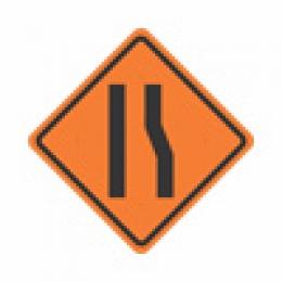 Estreitamento de pista à direita