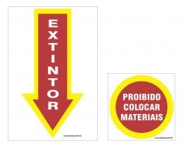 Kit placa de incêndio - extintor + proibido colocar materiais