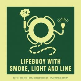 Bóia salva-vidas com dipositivo luminoso, retinida e fumaça (Lifebuoy with Smoke, Light and Line)