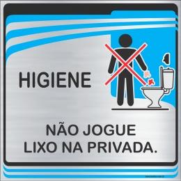 Placa Não Jogue Lixo na Privada (15x15cm)