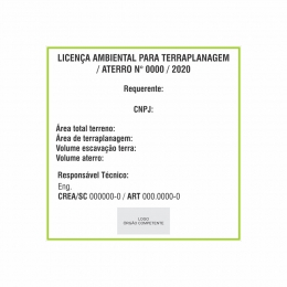 Placa Licença ambiental para terraplanagem e aterro