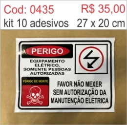 Saldão - Adesivo Perigo Equipamento Elétrico Somente pessoas autorizadas