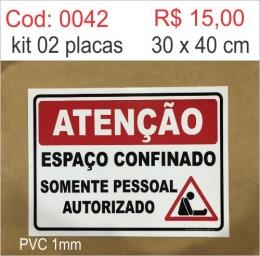 Saldão - Placa Atenção Espaço Confinado Somente Pessoal Autorizado