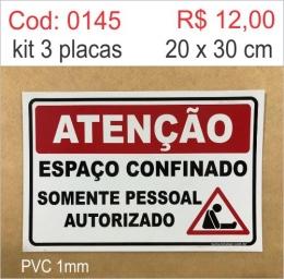 Saldão - Placa Atenção - Espaço Confinado Somente Pessoal Autorizado