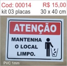 Saldão - Placa Atenção Mantenha o Local Limpo