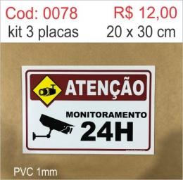 Saldão - Placa Atenção Monitoramento 24h