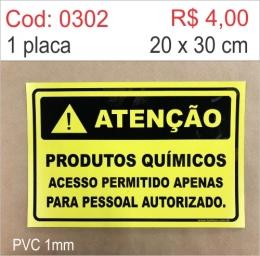 Saldão - Placa Atenção - Produtos Químicos Acesso Permitido Apenas Para Pessoal Autorizado