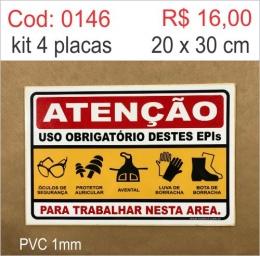 Saldão - Placa Atenção - Uso Obrigatório Destes Epis Óculos de Segurança, Protetor Auricular, Avental, Luva de Borracha, Bota de Borracha