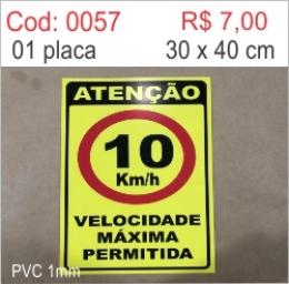 Saldão - Placa Atenção Velocidade Máxima Permitida 10km/h