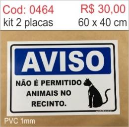 Saldão - Placa Aviso - Não é permitido animais no recinto