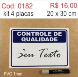 Saldão - Placa Controle de Qualidade