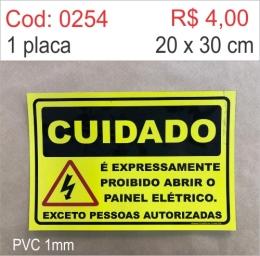Saldão - Placa Cuidado - É Expressamente Proibido Abrir o Painel Elétrico Exceto Pessoas Autorizadas