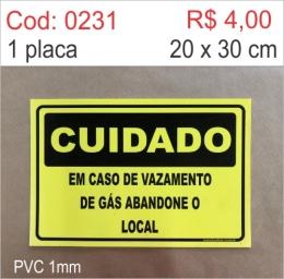 Saldão - Placa Cuidado em Caso de Vazamento de Gás Abandone o Local