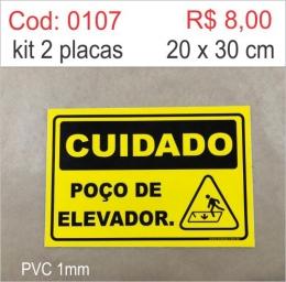 Saldão - Placa Cuidado - Poço de elevador