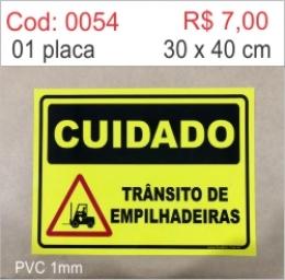 Saldão - Placa Cuidado Trânsito de Empilhadeiras