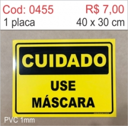 Saldão - Placa Cuidado - Use Máscara