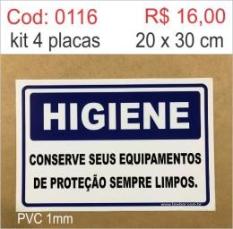 Saldão - Placa Higiene - Conserve Seus Equipamentos de Proteção Sempre Limpos
