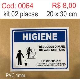 Saldão - Placa Higiene Não Jogue o Papel no Vaso Sanitário