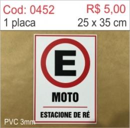 Saldão - Placa Estacionamento para Moto estacione de ré
