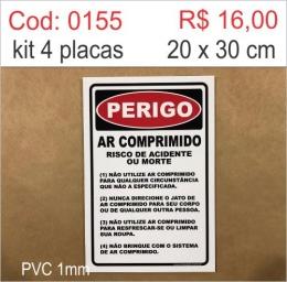 Saldão - Placa Perigo - Ar Comprimido Risco de Acidente ou Morte