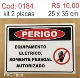 Saldão - Placa Perigo Equipamento Elétrico Somente Pessoal Autorizado