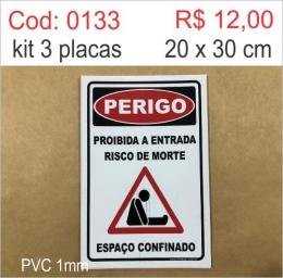 Saldão - Placa Perigo - Proibido Entrada Risco de Morte Espaço Confinado