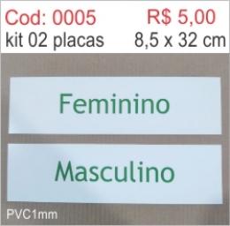 Saldão - Placa de Identificação Feminino e Masculino