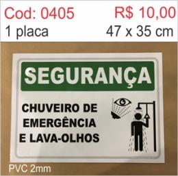 Saldão - Placa Segurança - Chuveiro de Emergência e Lava-olhos