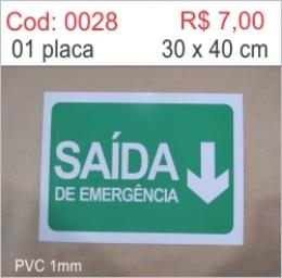 Saldão - Placa Saída de Emergência