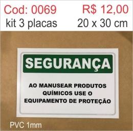 Saldão - Placa Segurança - Ao Manusear Produtos Químicos Use Equipamento de Proteção