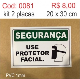 Saldão - Placa Segurança Use Protetor Facial