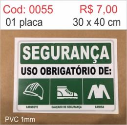 Saldão - Placa Segurança Uso Obrigatório de Capacete, Calçado de Segurança e Camisa