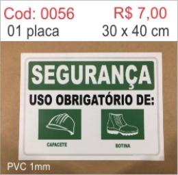 Saldão - Placa Segurança Uso Obrigatório de Capacete e Botina
