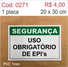 Saldão - Placa Segurança - Uso Obrigatório de EPI's