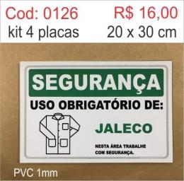 Saldão - Placa Segurança - Uso Obrigatório de Jaleco
