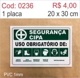 Saldão - Placa Segurança - Uso Obrigatório de: Luvas de Borracha, Botas Antiderrapante, Máscara de Respiração, Óculos de Proteção, Protetor Auricular